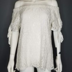 DO + BE White lace off shoulder blouse L
